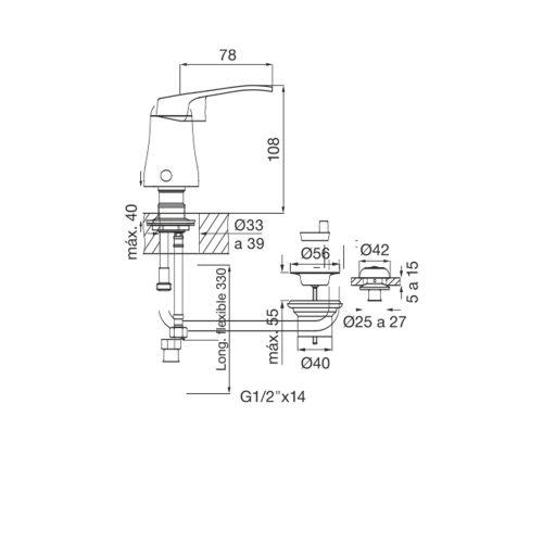 Planos - FV Arizona GF 0189-B1-CR Bidet Mono