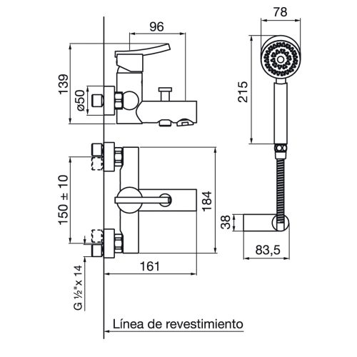 Planos - FV Libby GF 0310-39-CR Ducha Exterior Mono