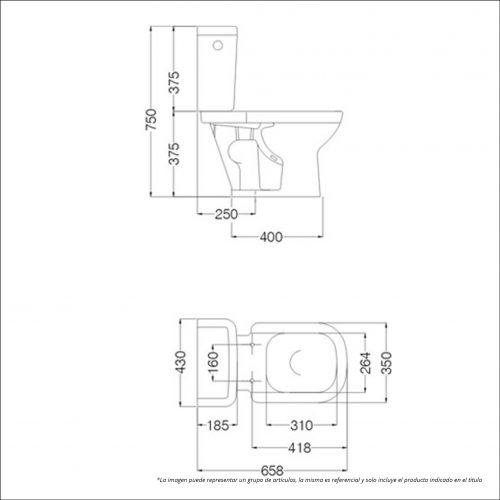 Planos Medidas Ferrum - Deposito Descarga Dual 6 Lts Fe-Dkw6F